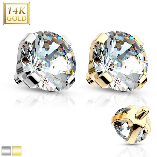 Kryształ Nakrętka Dermal Anchor Top Implant złoto 14 karatowe piercing