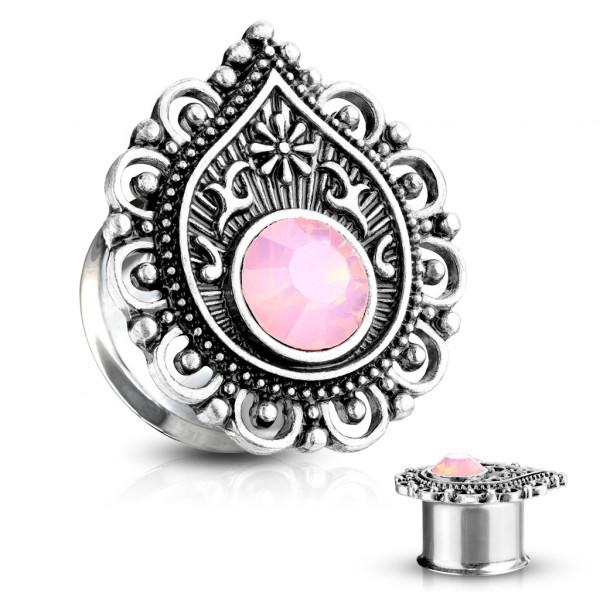 Różowy kamień Opal Double Flared Tunel Plug do ucha