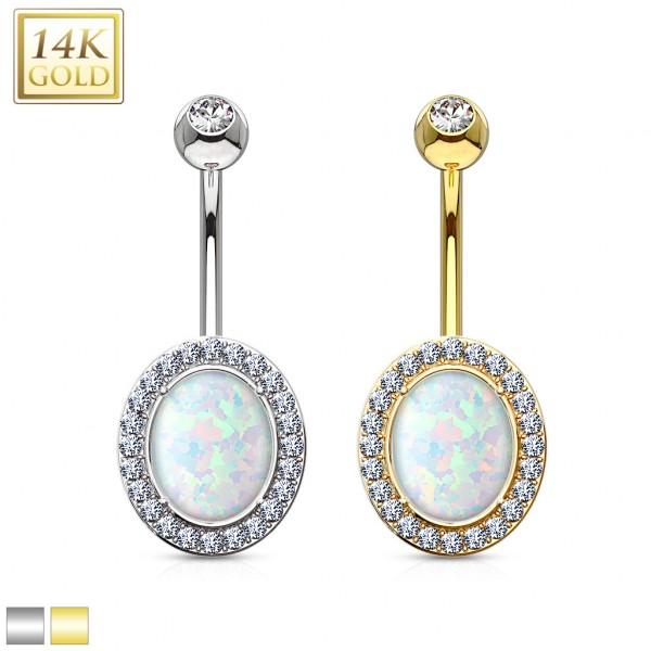 Opal złoty kolczyk do pępka 14 karatowe złoto 585 piercing