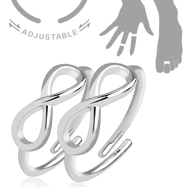 Nieskończoność pierścionek na palec u dłoni lub stopy rozmiar dający się regulować