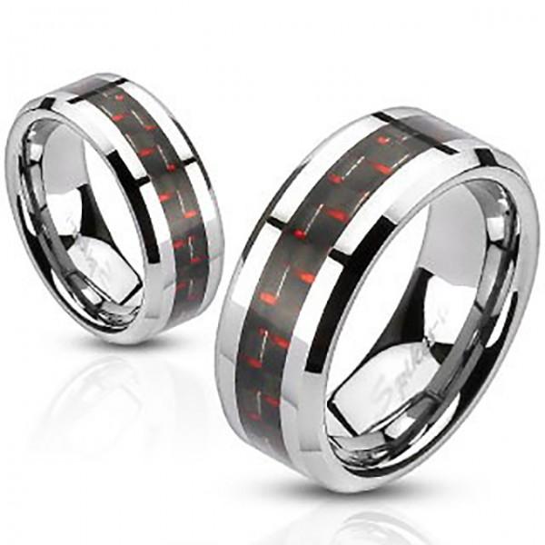 Czarny i czerwony środek pierścionek ze stali szlachetnej