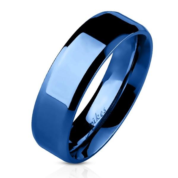 Ścięty rant płaski pierścionek niebieski powłoka jonowa ze stali szlachetnej