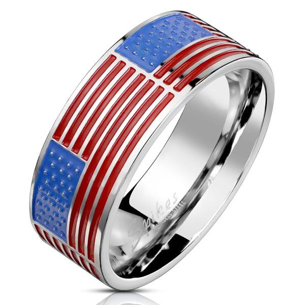 Flaga USA obrączka pierścionek stal szlachetna
