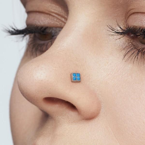 Turkisowe kwadraty prosty kolczyk do nosa