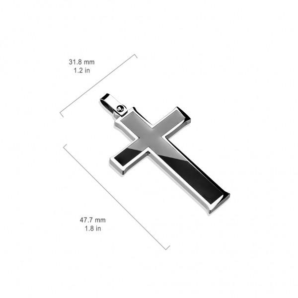 Zawieszka Krzyż czarny stal 316L