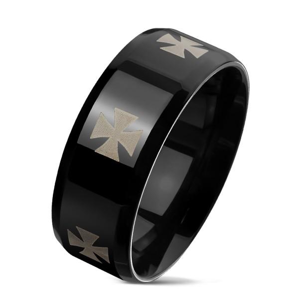 Krzyż celtycki czarna obrączka pierścionek