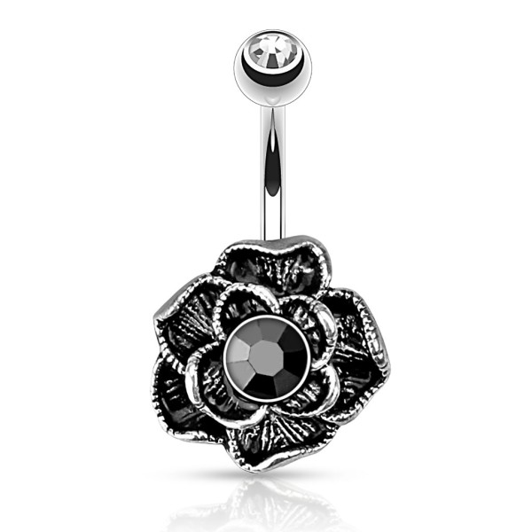 Vintage Czarna Róża kolczyk do pępka stal chirurgiczna 316L piercing