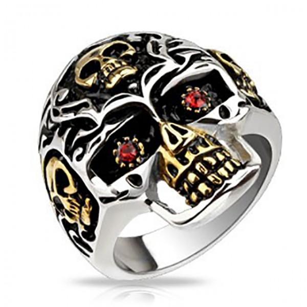 Czaszka z czerwonym cyrkoniami oczy pierścionek ze stali szlachetnej