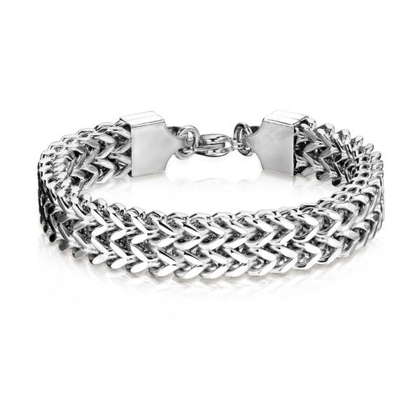 Szeroka bransoleta łańcuch ze stali szlachetnej