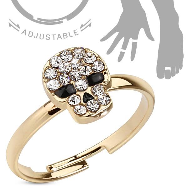 Czaszka z oczami cyrkonia pierścionek na palec ręki lub stopy