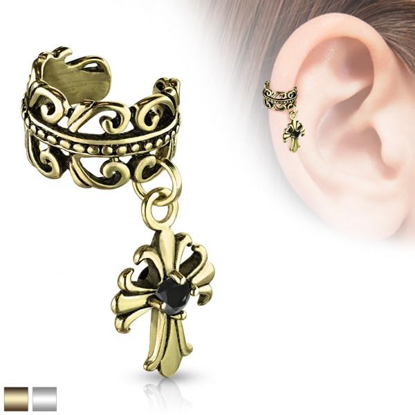 Krzyż serce celtyckie złoty klipsy do ucha kolczyk helix bez przekłuwania oszukany piercing