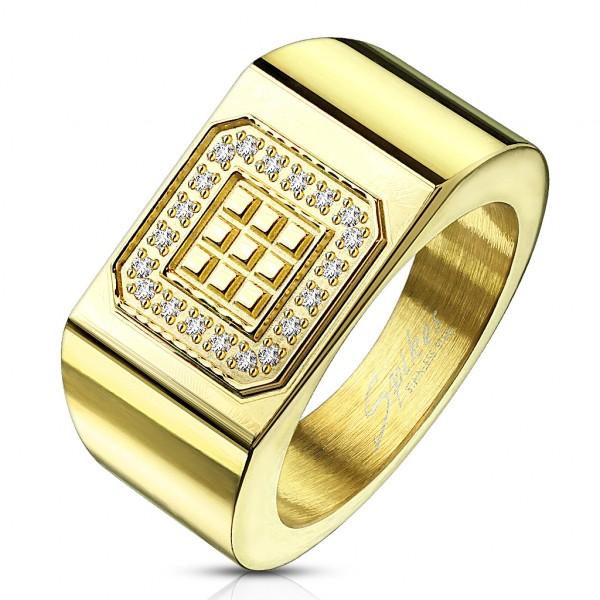 Złoty sygnet kwadrat stal szlachetna