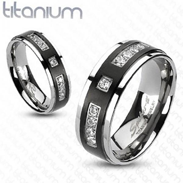 Cyrkonie czarny szeroki pierścionek tytan