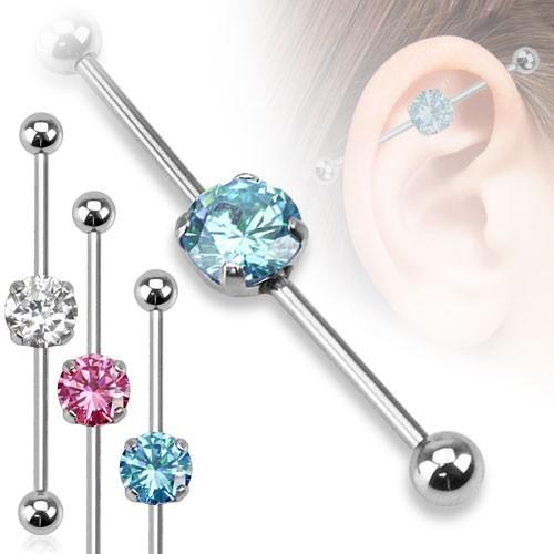 Cyrkonia kolczyk do chrząstki ucha Industrial Surface Bar barbell piercing