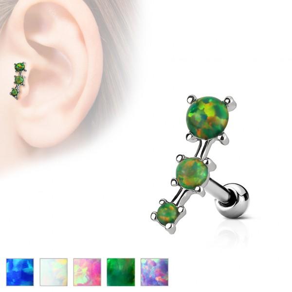 Opal 3 kryształy nausznica kolczyk do chrząstki ucha tragus helix cartilage stal chirurgiczna 316L piercing