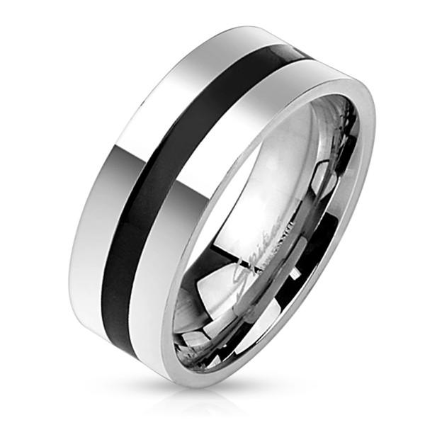 Czarny Line w stal szlachetna pierścionek
