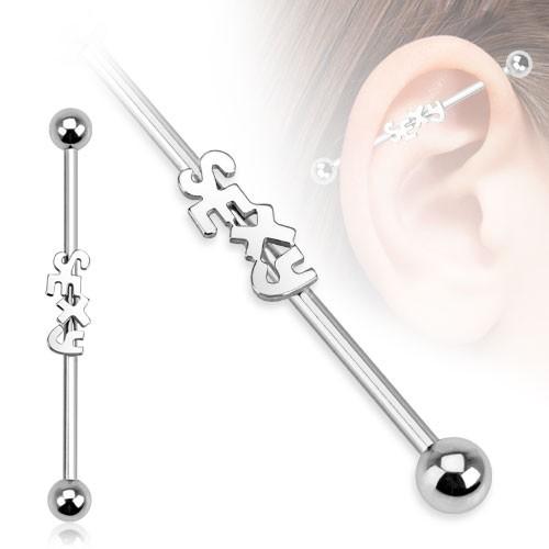 Napis sexy Kolczyk do chrząstki ucha Inustrial Surface Bar Barbell piercing