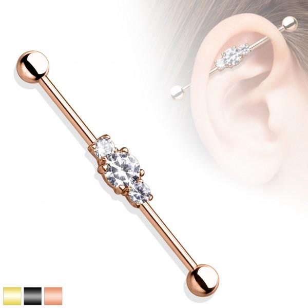 Cyrkonie złoty kolczyk do chrząstki ucha Industrial Surface Bar barbell piercing