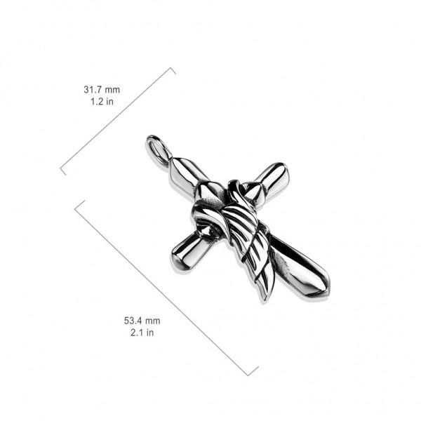 Kreuz Engelsflügel Anhänger Silber 316L Stahl