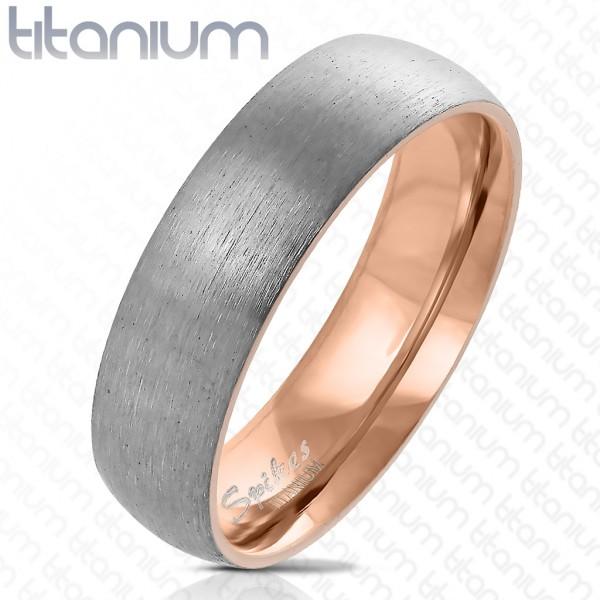 pozłacany różowym złotem w środku stal szczotkowana Outside tytan pierścionek