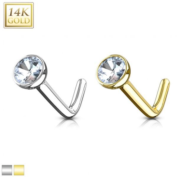 Cyrkonia kolczyk do nosa nostril piercing złoto 14 karatowe 585