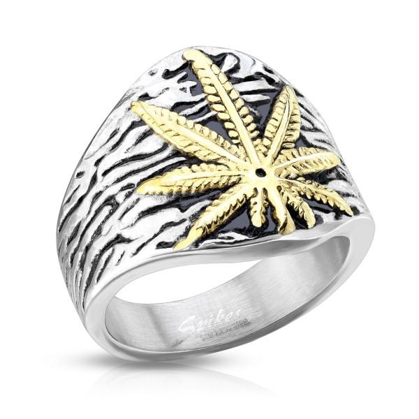 Marihuana pierścionek męski obrączka sygnet