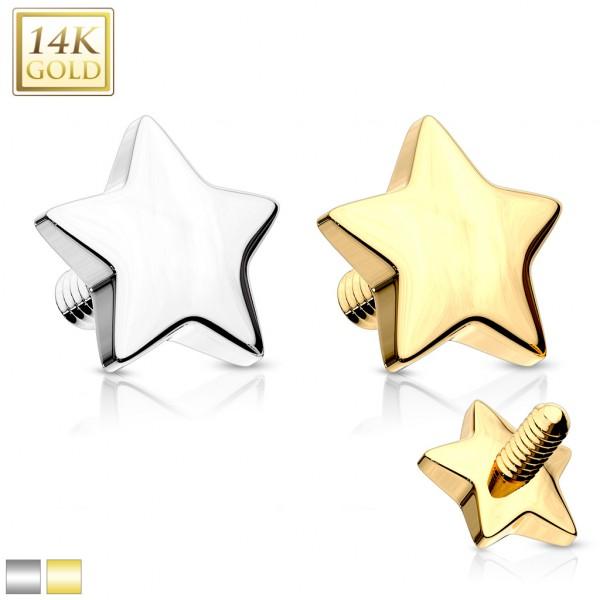 Gwiazdka Nakrętka Dermal Anchor Top Implant złoto 14 karatowe piercing