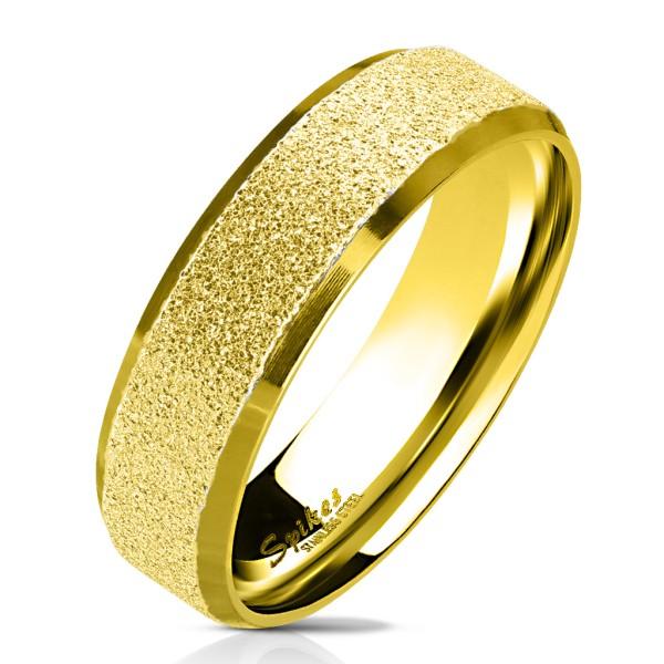 Złoty piaskowany pierścionek stal chirurgiczna 316L pierścionek