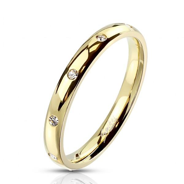 Wąski złoty pierścionek damski męski obrączka