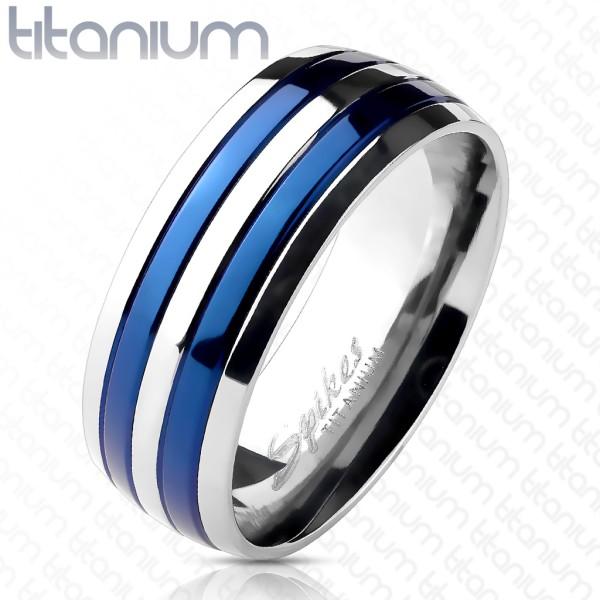 Niebieski pierścionek tytan