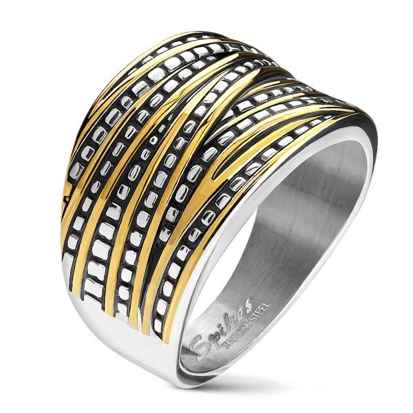 złoty i srebrny - Overlapping Bands stal szlachetna pierścionki