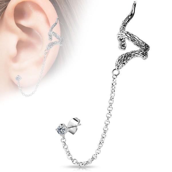 Wąż łańcuszek nausznica kolczyk do ucha i chrząstki ucha piercing Ear cuff