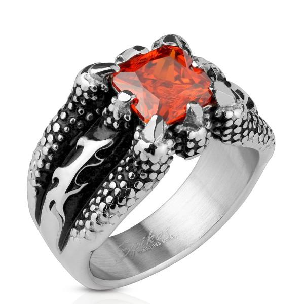 Smok kieł czerwony kwadrat kamień pierścionek ze stali szlachetnej