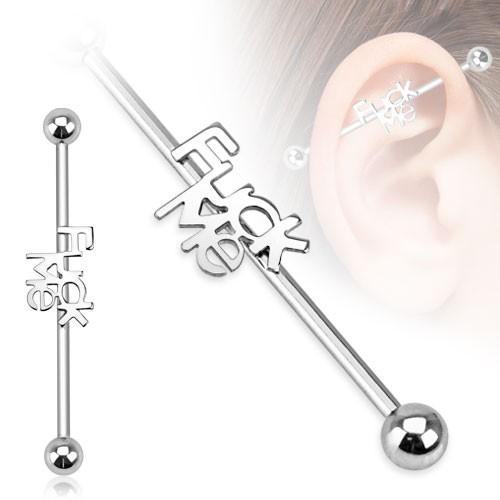Napis Fuck me kolczyk do chrząstki ucha Industrial Surface Bar barbell piercing