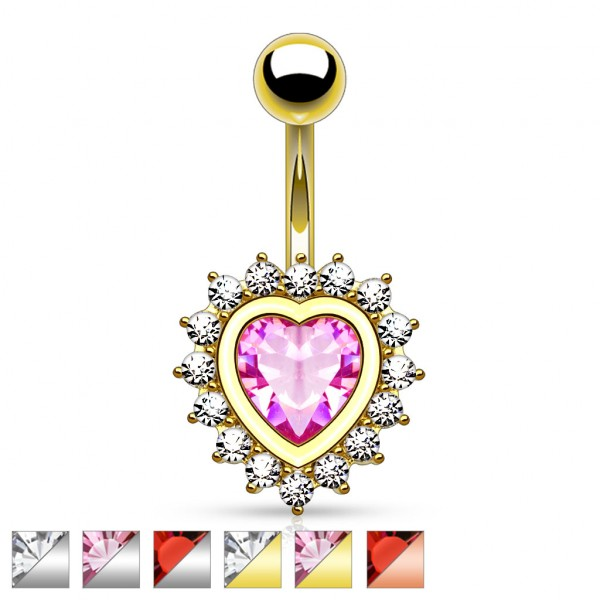 Large Heart CZ Center with CZ Paved Heart 316L Surgical Steel Belly Button Ring Mix 36 Pcs Bulk Pack