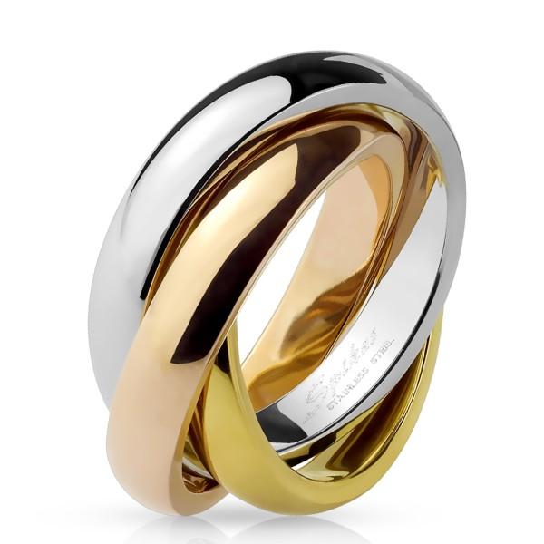 Pierścionek ze złotymi elementami stal szlachetna