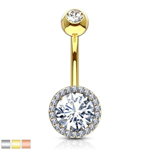 Kryształ z cyrkoniami kolczyk do piercingu pępka