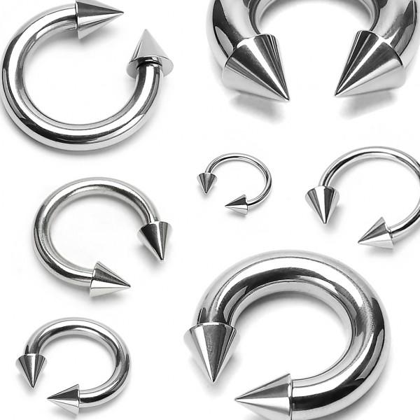 Srebrny kolczyk podkowa kolec do wargi chrząstki ucha lub septum podkówka piercing