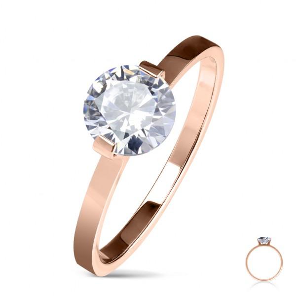 Pierścionek zaręczynowy z duża cyrkonią pozłacany różowym złotem