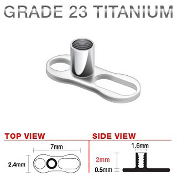 2 otwory Dermal Anchor Implant Microdermal tytan piercing