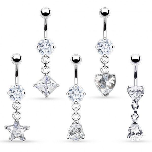 Solitare CZ Dangle Belly Ring Mix 30pc Bulk Pack