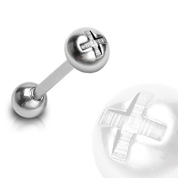 Kolczyk do języka sztanga barbell stal chirurgiczna śruba piercing