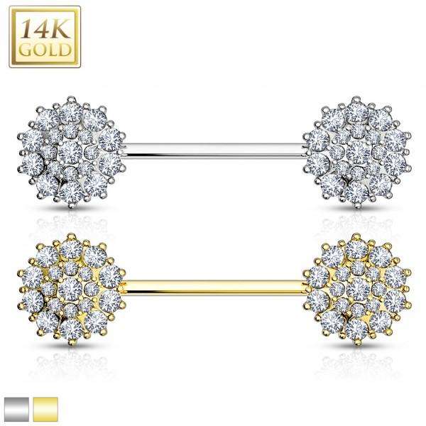 Kwiatek kolczyk intymny do sutków sztanga barbell piercing prawdziwe złoto 14 karatowe