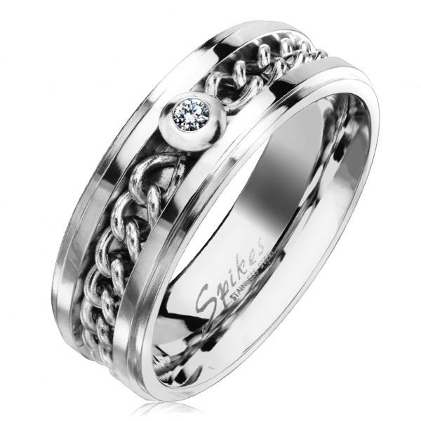 Łańcuszek cyrkonia srebrny pierścionek