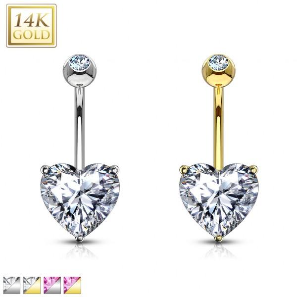 Serce cyrkonia kolczyk do pępka złoty piercing 14 karatowe prawdziwe złoto 585