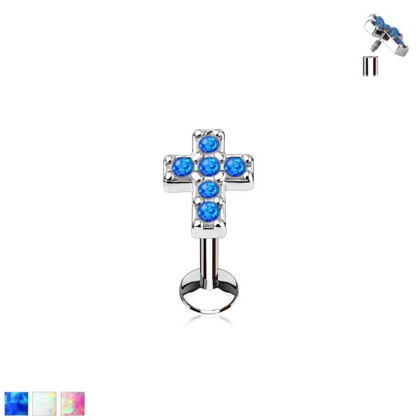Krzyż opal labret monroe helix tragus kolczyk do piercingu ucha gwint wewnętrzny 316L