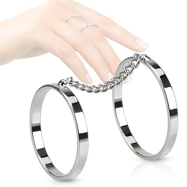 połączone łańcuszkiem cyrkonie pierścionek na palec rozmiar dający się regulować