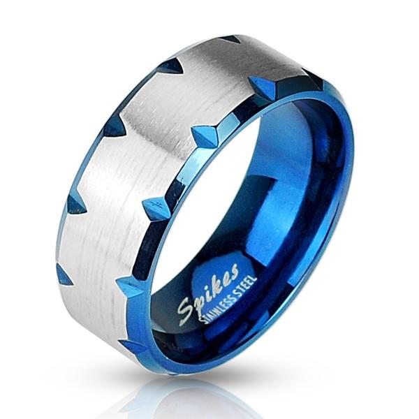 Szlifowane ranty niebieski pierścionek ze stali szlachetnej