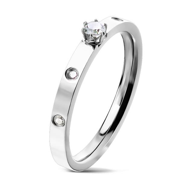 Cyrkonia pierścionek ze stali szlachetnej