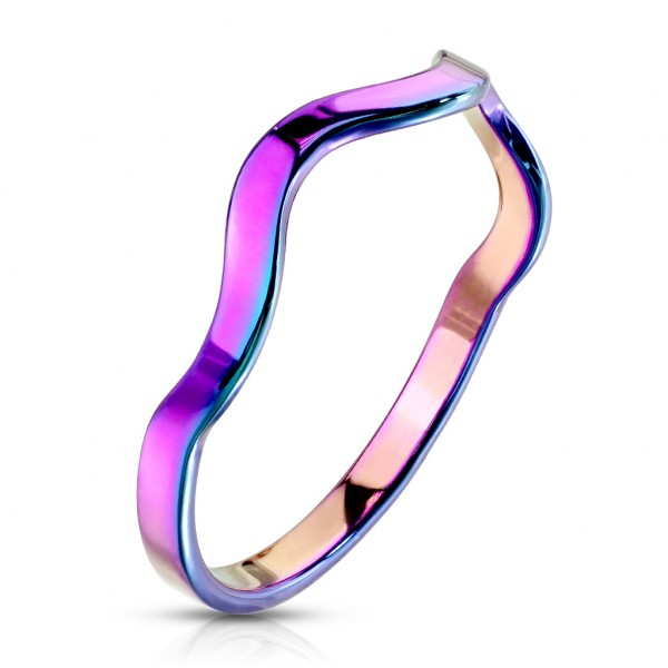 Tęczowy krzywy pierścionek damski męski obrączka fala
